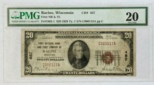 1929 $20 National Currency Note First Bank Trust Racine WI FR-1820-1 PMG 20 VF
