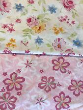 Pottery Barn Kids Full Flat Sheet  Floral Garden Flowers Pink White