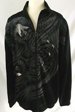 MMA Elite Track Jacket Mens Zip Front Size L Black Gray Dragon Print