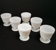 Vintage Milk Glass Harvest Grape Footed Sherbet Glasses  Set of 6