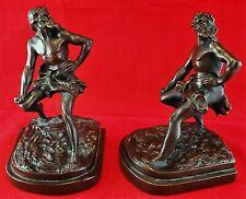 RARE ARMOR BRONZE BOOKENDS Pair Man Male Nude Figure Statue Robinson Crusoe