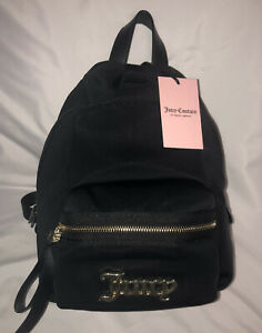 JUICY COUTURE All About That Bow Mini BLACK GOLD Backpack Purse LOGO Bag NWT $99