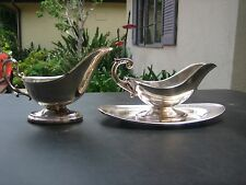 Vintage Silverplate Crescent Gravy Bowls & Plate