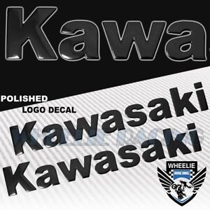 "2X 8""X 1.25"" 3D POLISH ABS/SHINY EMBLEM DECAL LOGO+LETTER STICKER KAWASAKI BLACK"