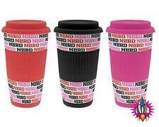 NEW RETRO NERD DOUBLE WALLED INSULATED TRAVEL MUG CUP IN RED BLACK OR PINK