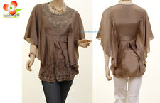 BRN Victorian Renaissance Embroidered Lace Pearl Kimono Batwing Blouse Shirt Top