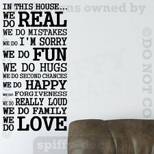 IN THIS HOUSE FAMILY WE DO LOVE FUN REAL Quote Vinyl Wall Decal Decor Sticker