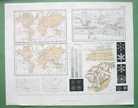 METEOROLOGY Phenomena Snow Flakes Rain Wind Charts - Original Engraving Print