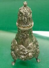 Kirk & Son Repousse Sterling Silver #8 Floral Footed Salt or Pepper Shaker