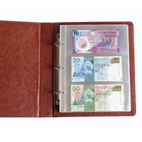 180*80mm 1 Album Page 3 Pockets Money Bill Note Currency Holder PVC Collection