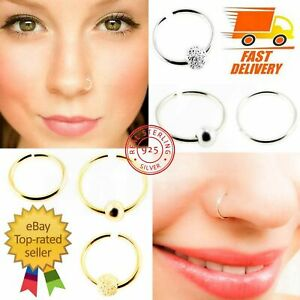 925 STERLING SILVER GOLD NOSE EYEBROW RING PIERCING HOOP STUD WITH BALL 8mm 10mm