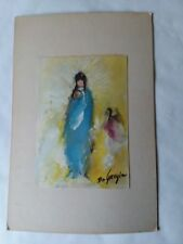 "VTG Ted Degrazia Watercolor Print Madonna and Child 5"" x 7"""