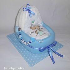 Windelbettchen + Schnullerkette mit Wunschnamen ♥ Windelgeschenk Baby Junge *