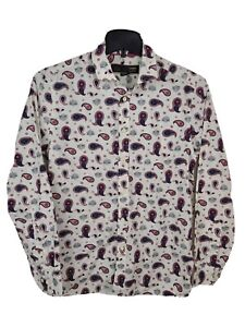 MERC LONDON Kean Paisley Fitted Long Sleeve Shirt Size Medium White Mens