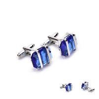Blue Stainless Steel Mens Wedding Party Gift Shirt Cuff Links Cufflink JR