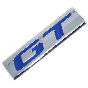 CHROME/BLUE METAL GT ENGINE RACE MOTOR SWAP EMBLEM BADGE FOR TRUNK HOOD DOOR