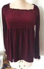 Ruched top long sleeve oversized high waist dark red velvet tunic top shirt M