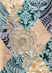 Papyrus  Gorgeous Mother's Day card Gold Embroidered Lace Flower Retails $9.95