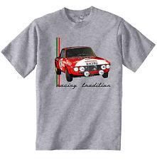 LANCIA FULVIA ispirazione racing-Nuovo T-Shirt grigio Cotone-Tutte le taglie in magazzino