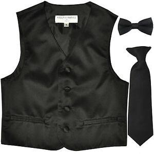 New Kids boys formal tuxedo vest_necktie & bowtie black US 2 4 6 8 10 12 14