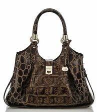 Brahmin Orinoco Collection Elisa Espresso Leather Satchel Hobo Shoulder Bag