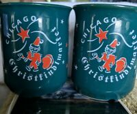Set of 2 Christkindlmarket Chicago Christmas Market Mugs Green with Santa stars