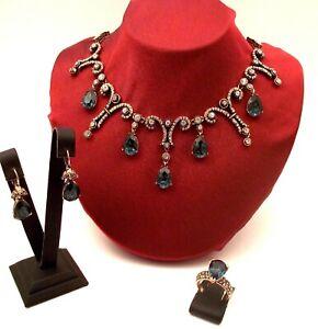 Turkish Handmade Hurrem - Classic Ottoman Style Sapphire Set With Rhinestones 01