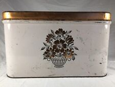 Mid Century Primitive Decoware Bread Box Vintage Flower Country