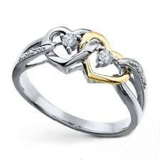 Shape Round Diamond Engagement Ring 0.90 Ct 10K Two Tone Gold Over Double Heart