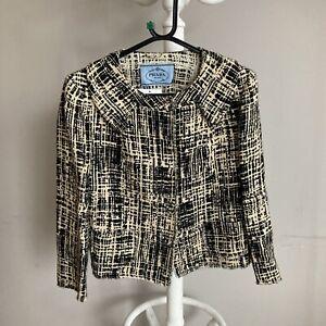 Prada Milano Ladies Jacket Size 12 Cream And Black With Collar Detail ##bel