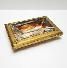 Italian Ashtray Tole Gold Gilt Vintage Wood Glass Large