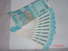India Paper Money- 10 X Rs.50/- New 'Mg' Notes-Small- Urjit R.Patel -2017# E 4vi