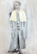 Vintage gouache painting theatre costume design signed