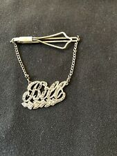 """Vintage NAME """"BILL""""  Sterling Silver Tie Clip Bar Chain With Marcasite stones"""