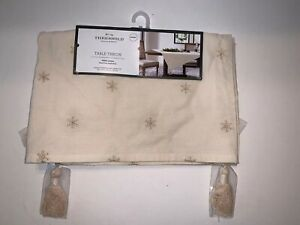 """THRESHOLD 52""""x52"""" Embroidered Snowflake Table Throw NATURAL Tassels NWT XMAS"""