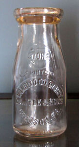 VALE WOOD DAIRY C.A. ITLE & SONS CRESSON PA EMBOSSED HALF PINT STORE MILK BOTTLE
