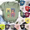 Womens Ladies Blouse Casual Cats Print Tee Loose Holiday Shirt Basic Tops Summer