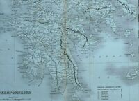 C1825 Thucydides Ancien Grèce Carte Peloponnesus Messenia Arcadia Athens Megaris