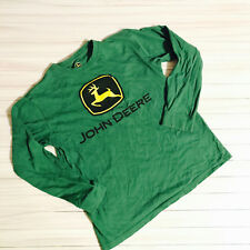John Deere Green Long Sleeve Spell Out Logo Front Knit Casual Shirt Boys Large