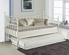 Elenor Metal Guest Day Bed French Style Free Pull Out Trundle Icluded White