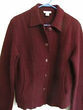 AnnTaylor Blazer Jacket Coat M Boiled Wool Wine Collar Button Side Entry Pockets