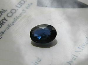 Rare Certified Unheated Oval Cut 1.48ct Transparent Deeper Blue Sapphire.