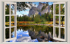 Lake & Mountains Window View Repositionable Color Wall Sticker Wall Mural 3 Feet