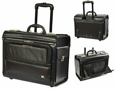 REAL Leather Pilot Case Black Wheeled Business Travel Laptop Trolley Briefcase