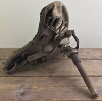 Antique Motorcycle Bicycle Spring Saddle Seat With Post Old Metal Canvas Troxel