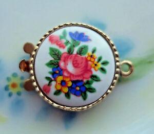 #603E Vintage Clasp Limoges One Strand Bracelet Necklace 1 Strand Floral NOS