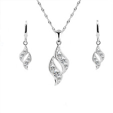 FASHION WOMEN TWIST DROP SILVER RHODIUM PLATED CZ STONES STUD EARRINGS NECKLACE