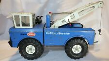 Blue & White Mighty Tonka Tow Truck Double Boom Wrecker Metal 24 Hour Service