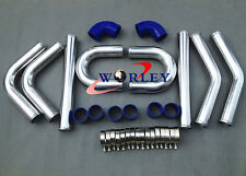 "2.5"" 64mm Aluminum Universal Intercooler Turbo Piping pipe Kit + Blue hose kits"