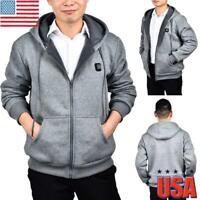 Mens Womens Electric Heating Clothes Winter Warm Hoodies Jacket Parka Coats USA
